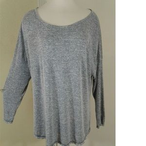 Gray Oversized hi low Long Sleeve Casual Tunic Top